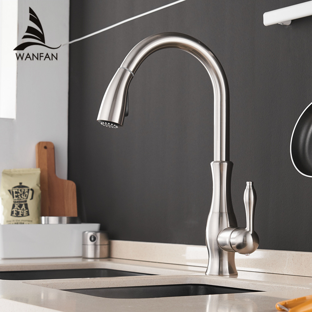 где купить Kitchen Faucets Silver Single Handle Pull Out Kitchen Tap Single Hole Handle Swivel 360 Degree Water Mixer Tap Mixer Tap 866011 по лучшей цене