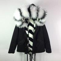 Новинка зимы модные Цвет зебра полоса Дизайн Меховая куртка Черная курточка в наружный повседневные пальто