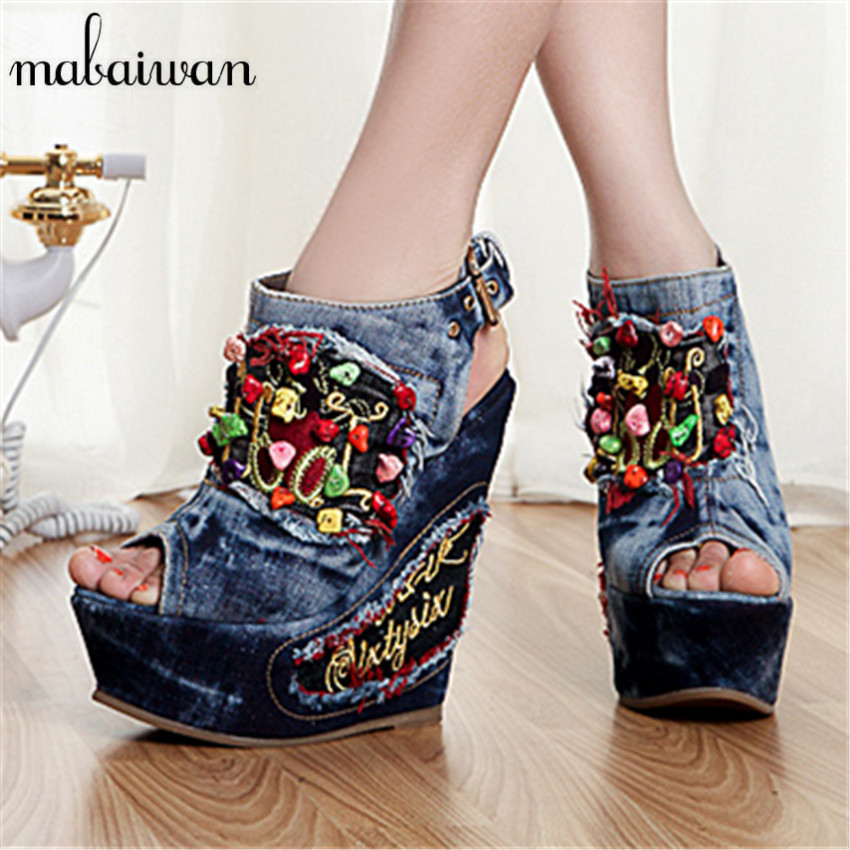 Designer Summer Wedge Shoes Woman Stone Flowers Decor High Heels Peep Toe Fashion Denim Sandals Platform Pumps Wedges women pumps wedges summer sandals peep toe high platform heels fashion shoes for woman