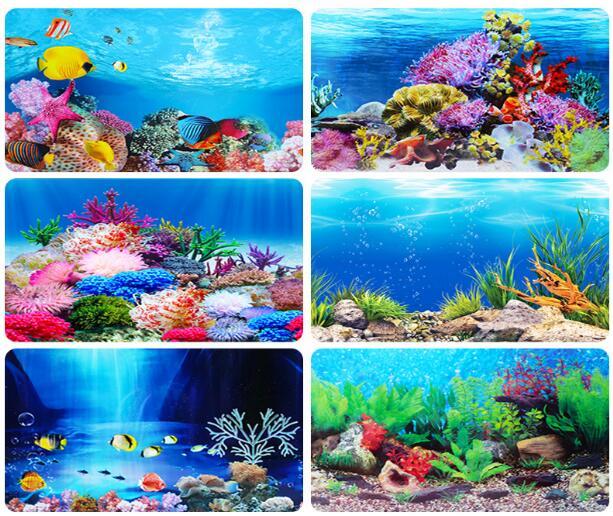 Sfondo di Acquario Pittura Decorativa per Acquario Adesivo in PVC Immagine di Paesaggio Carta per Decorazione di Sfondo per Acquario 61 * 30cm Poster di Sfondo per Acquario