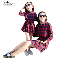 2018 Spring Autumn Children Girls Long Sleeve Plaid Shirts Dresses Mom Kids Matching Clothing Red Green