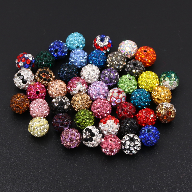 Beads & Jewelry Making 33color 50pcs 10mm Lemon Yellow Shamballa Beads Clay Pave Rhinestone Crystal Shamballa Ball Beads For Diy Jewelry Making