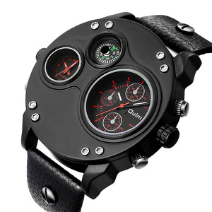 Image 5 - Oulm ייחודי חדש ספורט שעונים לגברים יוקרה מותג מקרית עור מפוצל צבאי שעון זכר דקורטיבי מצפן קוורץ שעון גבר