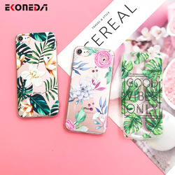 EKONEDA Silicone Case For iPhone 7 Case iPhone 7 Plus Leaves Flower Flamingo Lips Cover For iPhone7 Plus 8 XS Max XR 6s 5S Case 2
