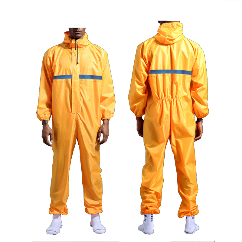 Waterproof Overalls Hooded Reflective Rain Coveralls Work Clothing Dust proof Paint Spray Unisex Raincoat Workwear Safety Suits