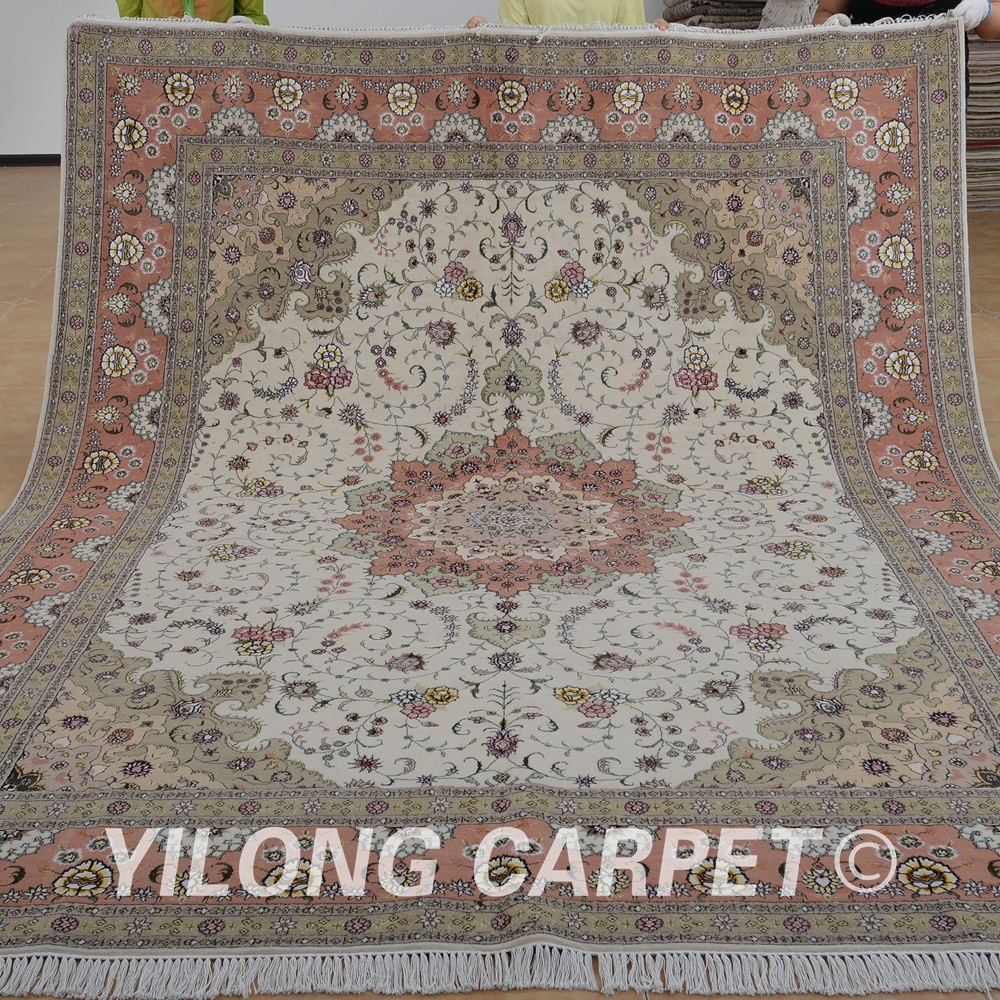 Yilong 8 X10 Vantage Handmade Carpet Beige And Pink Carpet