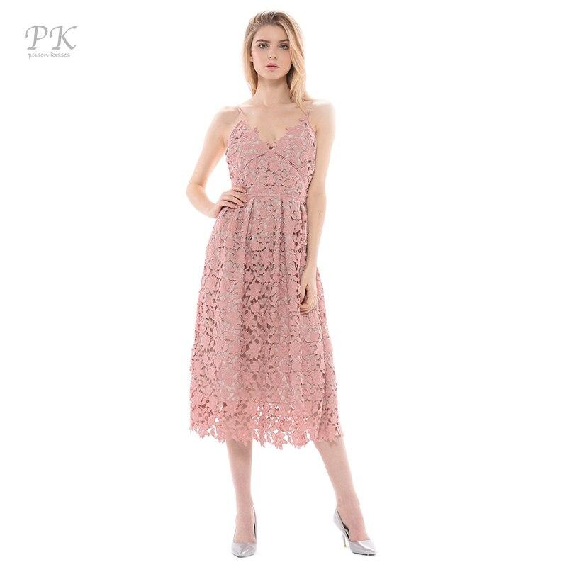 PK luz azul vestido de encaje verano 2017 acolchado ahueca hacia fuera larga fie