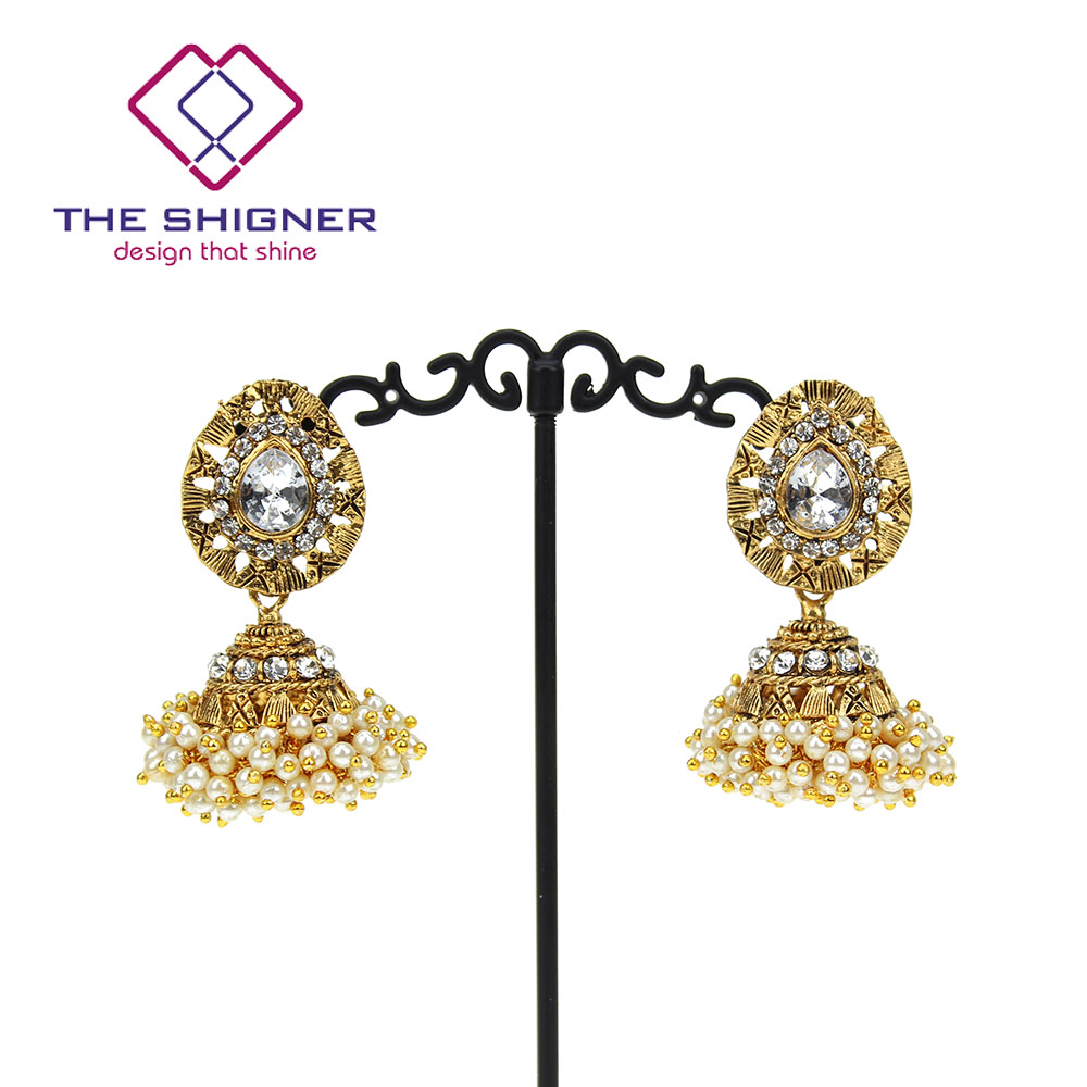THE SHIGNER Indian Tradition Jewelry Bombay Fashion Stylish Fancy Party  Wear Gold Color Pearl Jhumki Jhumka Dangle Earrings 47bf99af67cd