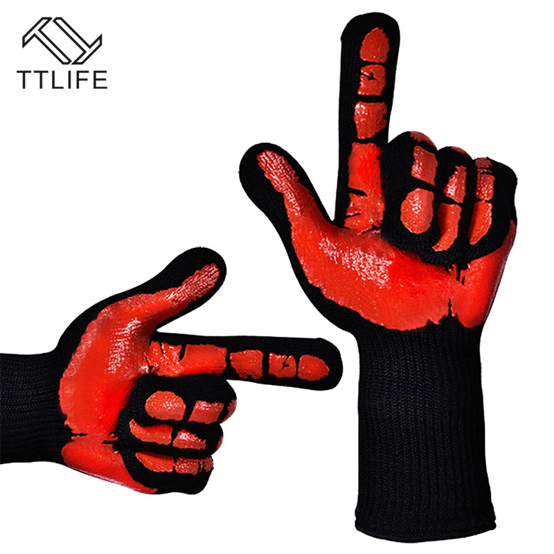 TTLIFE 2 PCS 932F Extreme Heat Resistant Thick Silicone Glove Kitchen Barbecue Oven Cooking Glove BBQ