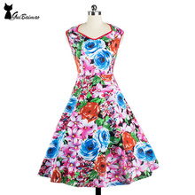 Women's Dress Vintage Style Party Dress Round Neck Sleeveless Cotton Fit and Flare Dresses