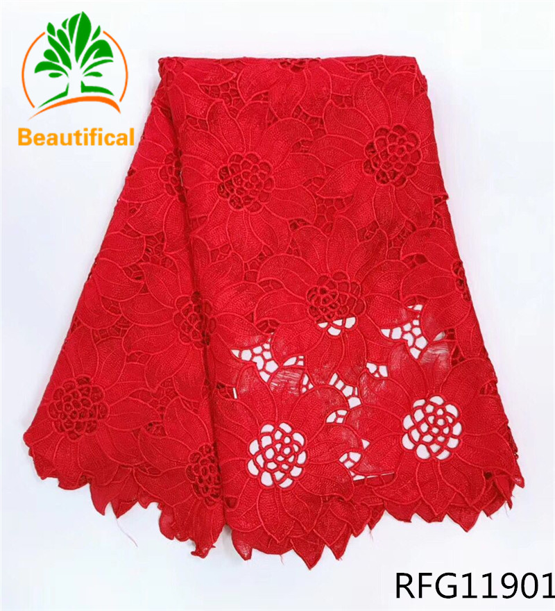 Beautifical african cord lace red lace fabric high quality guipure lace nigerian lace fabrics for wedding dresses RFG119
