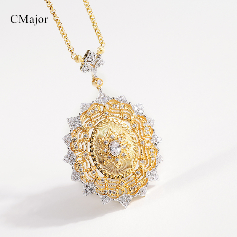 Cmajor S925 Silver Sun Vintage Palace Luxury Fashion Gold Color Pendant Necklaces For Women