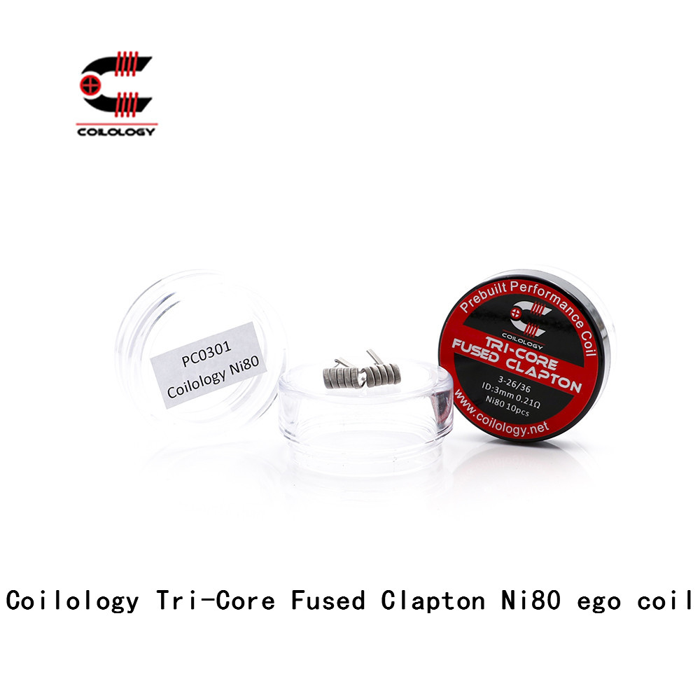 Original Coilology Tri-Core Fused Clapton Ni80 Newest EGO Coils DIY Heating Wire Electronic Cigarette RDA RBA RDTA
