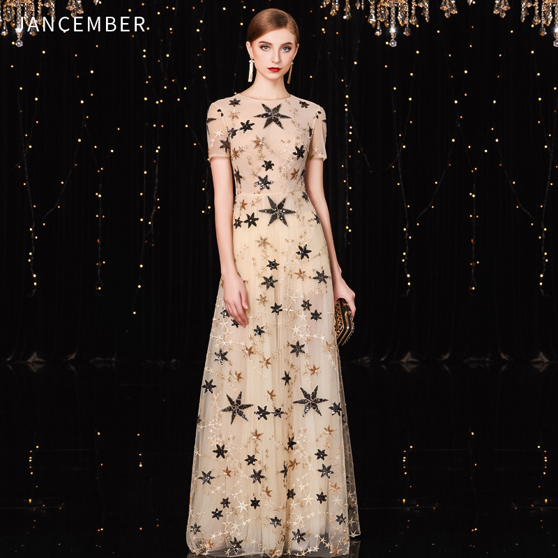 JANCEMBER Vestido Formal Mujer High-Neck A-Line Short Sleeve Floor-Length Illusion Sequined Elegant Abito Lungo Cerimonia Donna