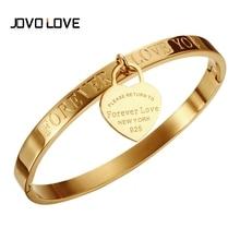 JOVO Pulseira 316L Stainless Steel Women Bracelets & Bangles Gold Color Heart Love Wedding Cuff Bangles Bracelets Women Jewelry