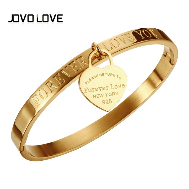 Trendy Stainless Steel Women Bracelets & Bangles Gold Color Heart Lover's Wedding Cuff Bangles Femme Bracelets Jewelry Pulseira