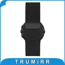 Milanese Bucle Banda de Acero Inoxidable Reloj de Pulsera Correa de Repuesto para Pebble Tiempo Ronda 20mm Bradley Reloj Negro Plata