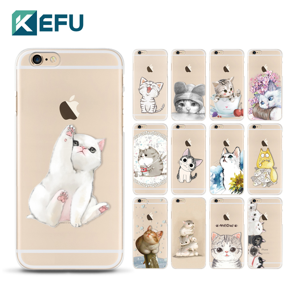 For coque iPhone 5S case 5 5S SE 6 6S 7 Plus Cute cats cover for