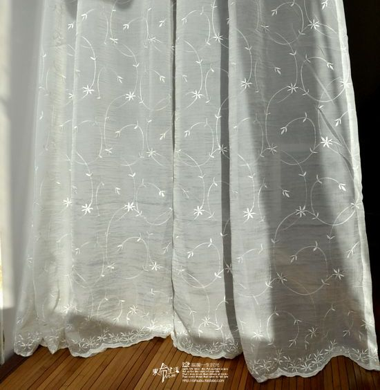 Clothing White Embroidered Yarn Rustic Fluid Linen Curtain