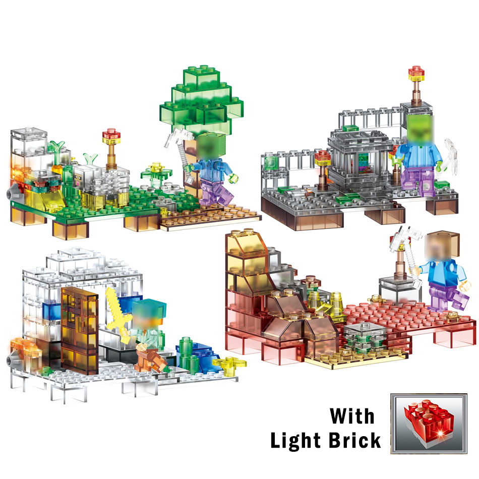 Qunlong 4 in 1 Crystal Light Action Toy Figures Building Blocks Educational Toy For Kids Gift Compatible Legoed Minecrafted City t3184b educational toy coin slide chip game toy playing toy set