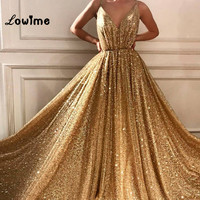 Gold Elegant Arabic Sparkle Evening Dresses Sequined With Spaghetti Straps Long Prom Dress Evening Gowns 2018 Moroccan Kaftans