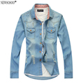 Newsosoo newest style hole denim shirts men high quality casual men's jeans shirt slim fit cowboy retro shirts men CY46