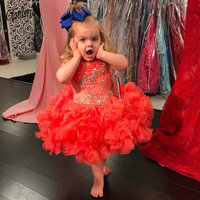 Lovely Tea Length Toddler Prom Dresses for Wedding Crystal Tiered Skirt Little Girls Party Gown Child Puffy Skirt
