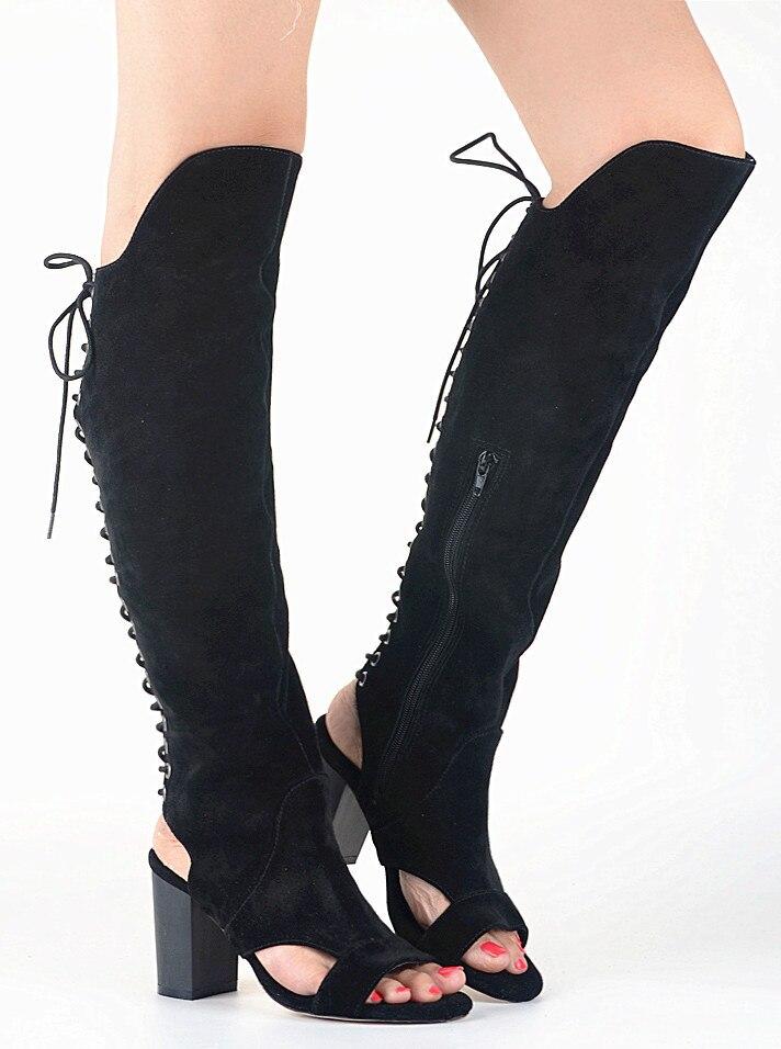 Knee High Black Suede High Heel Boots