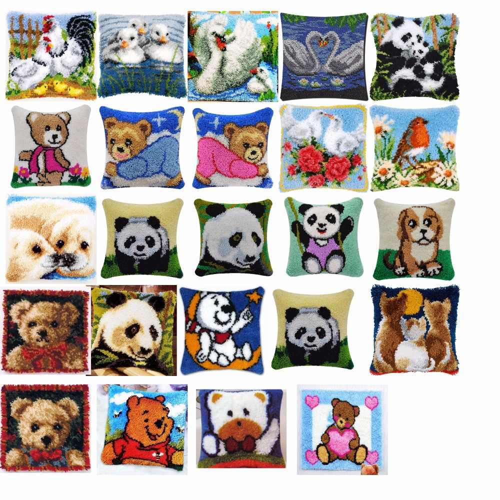 bears Cushion Latch Hook Kit Pillow Mat DIY Craft Flower 42CM 42CM Cross Stitch Needlework Crocheting Cushion Embroidery