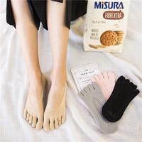 4 Pairs Summer Women Velvet Ultrathin Invisible Toe Socks Silica Gel Non Slip Breathable High Quality