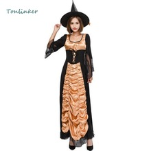 Halloween Lovely Sweet Witch Costume Cosplay Party Carnival Long Dress+Hat Witch Cosplay Stage Show Costume цена