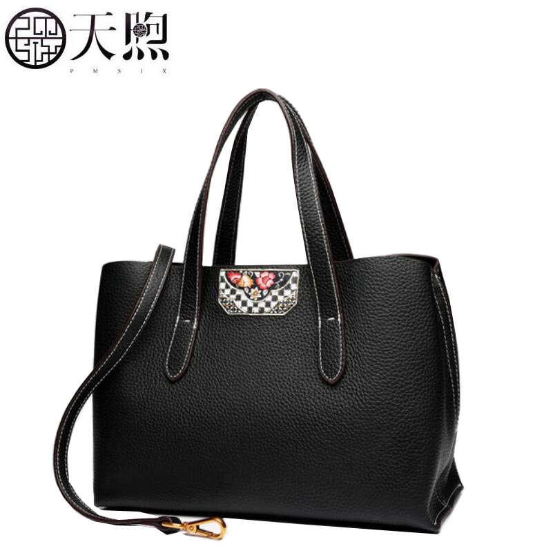 TMSIX 2018 New women genuine leather bags Cowhide bag tote women bag fashion designer handbags leather shoulder Crossbody bags genuine leather fashion women handbags bucket tote crossbody bags embossing flowers cowhide lady messenger shoulder bags
