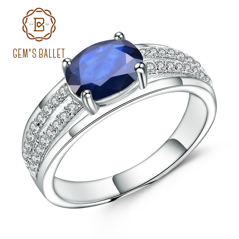 GEM'S BALLET 1.66Ct Oval Natural Blue Sapphire Gemstone Ring 925 Sterling Silver Wedding Band Rings For Women Fine Jewelry