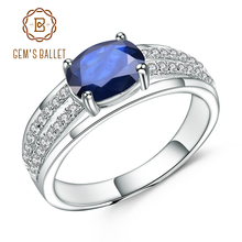 GEMS BALLET 1.66Ct Oval Natural Blue Sapphire Gemstone Ring 925 Sterling Silver Wedding Band Rings for Women Fine Jewelry