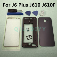 Full Housing Front Chassis Middle Frame + Back Battery Cover For Samsung Galaxy J6 Plus 2018 J6+ J610 J610F + Sticker Tools