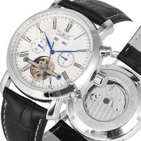 Luxury Tourbillon Automatic-self-winding Mechanical Watch Black Leather Stainless Steel Skeleton Mechanical Men Business Clock