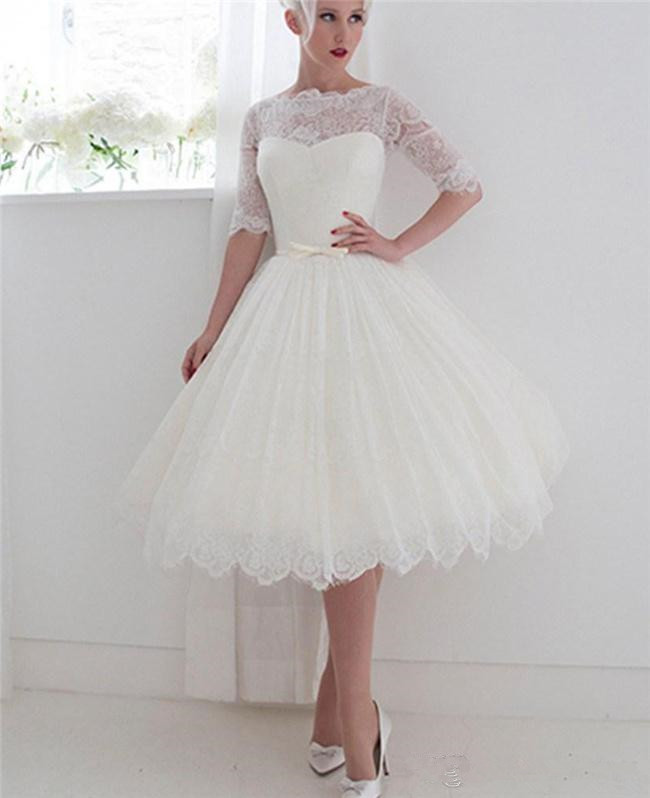 1950's Style Short Evening Dresses Bateau Lace Ribbon Illusion Back Beach Spring Tea Length Bridal Gowns Lace with Half Sleeve
