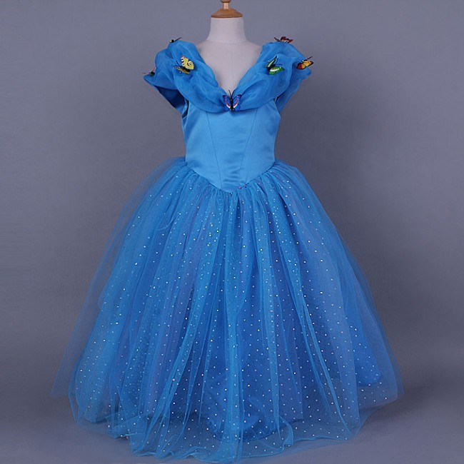 EMS/ DHL free shipping 2015 High Quality Cinde**lla Girls Party Cospaly  Hot Sell Princess Dress Blue Color lem htr200 sb sp1 used in good condition with free dhl ems