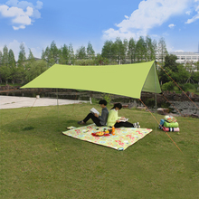 PSKOOK Canopy Tent Shelter Outdoor Sun Shelter Sun Shade Waterproof Camping Cushion Survival Shelter Hiking Tarp (2.1m*2.9m) 1pc