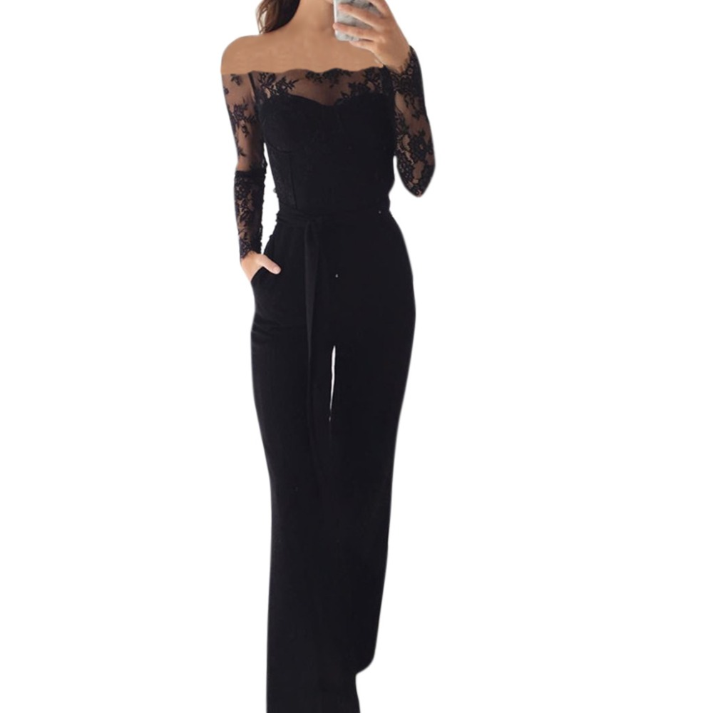 7f7ab85e0f4 Elegant Off shoulder Lace Rompers Jumpsuit Sexy Long Trousers Overalls  Jumpsuit