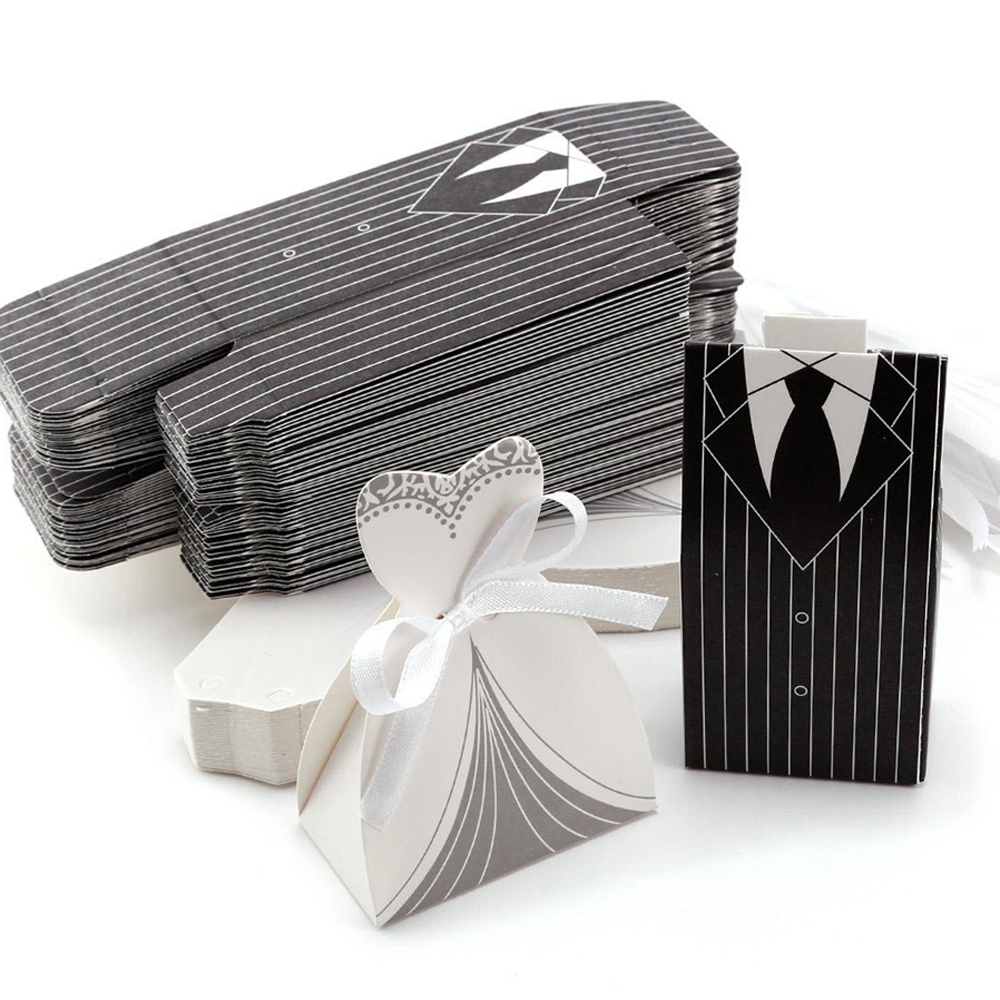 2017 New Fashion Paper Wedding Party Candy Favor Box Dress Bride ...