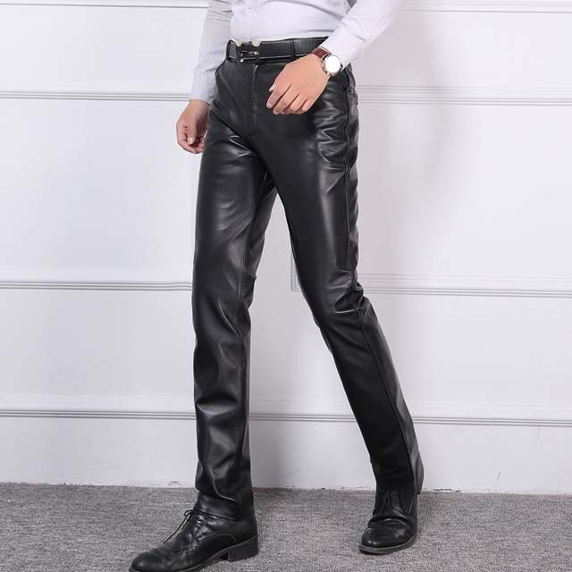 fb0427b6 Online Shop Plus Size 40 Mens Business Casual Trouser Real Leather Slim High  Quality Mid Waist Zipper Full Length Pants Sheepskin Motor Mans |  Aliexpress ...
