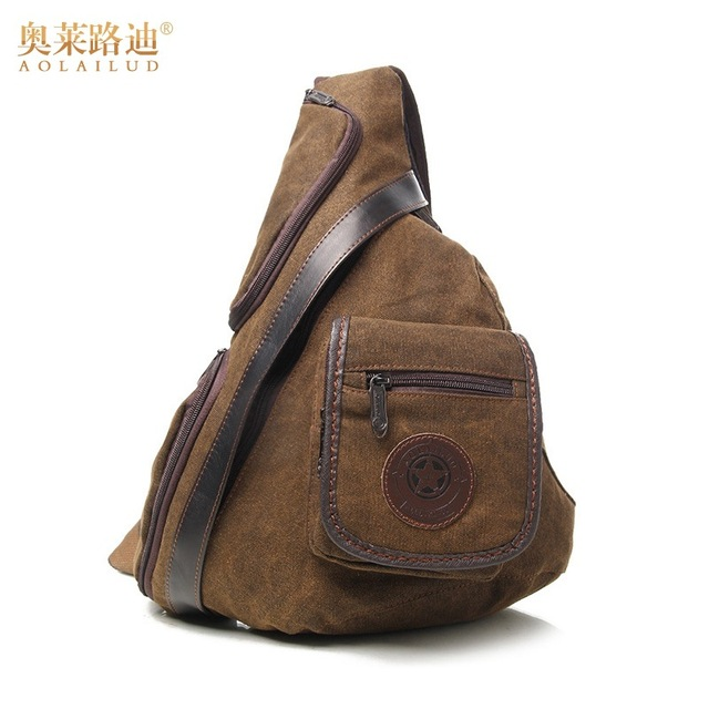 New Fashion vintage Canvas Chest bag men Messenger Bags brand waterproof  crossbody shoulder Bag Travel casual chest pack f11f791abd