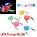 Universal led luz 8pin usb para sincronización datos usb micro cable de carga del cargador del cable cable para htc samsung s3 s4
