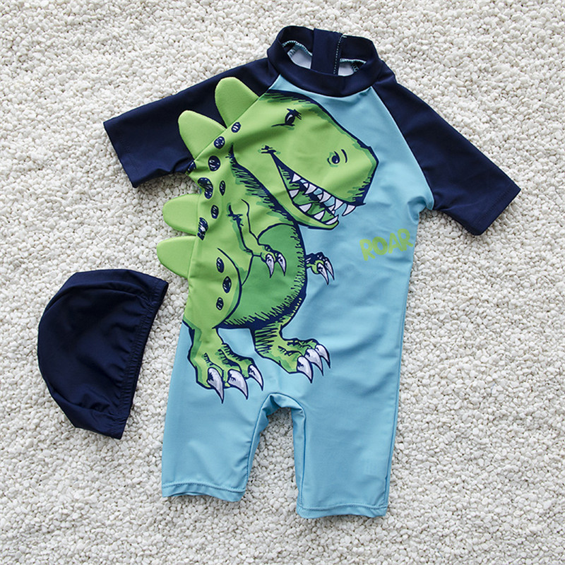 Free Shipping 2019 Baby Jungen New Children's Swimsuit Cartoon Conjoined Boxer Swimsuit Boy Swimsuit To Send Swimming Cap