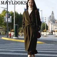 Bajan Kaban Maylooks 2018 Nowy Projekt Płaszcz Zimowy Kobiety Wełny Okopu Płaszcze Ciepły Oversize kobiet European Fashion Odzież 2861