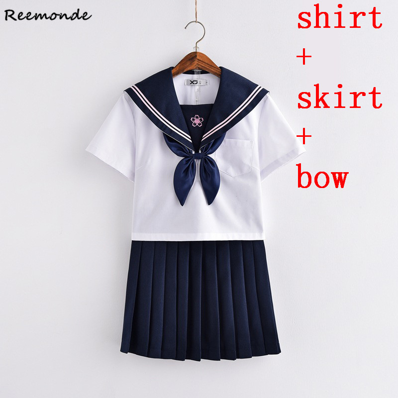 Anime Sailor Suit Cosplay Costumes JK Uniform School Shirt Skirt Bow Suit Short Sleeve Full Set For Women Girls Female Clothings