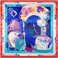 90 cm * 90 cm 2016 Nova Moda Lenço de Seda Quadrado Mulheres Marca Imitado Seda Tradicional China Ventilador e Chinês nó Lenços