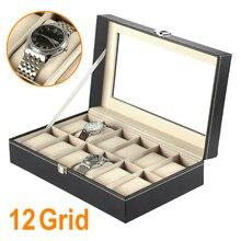 IMC 12 Rejilla de Cuero de Imitación Reloj de la Exhibición Caja Estuche Negro