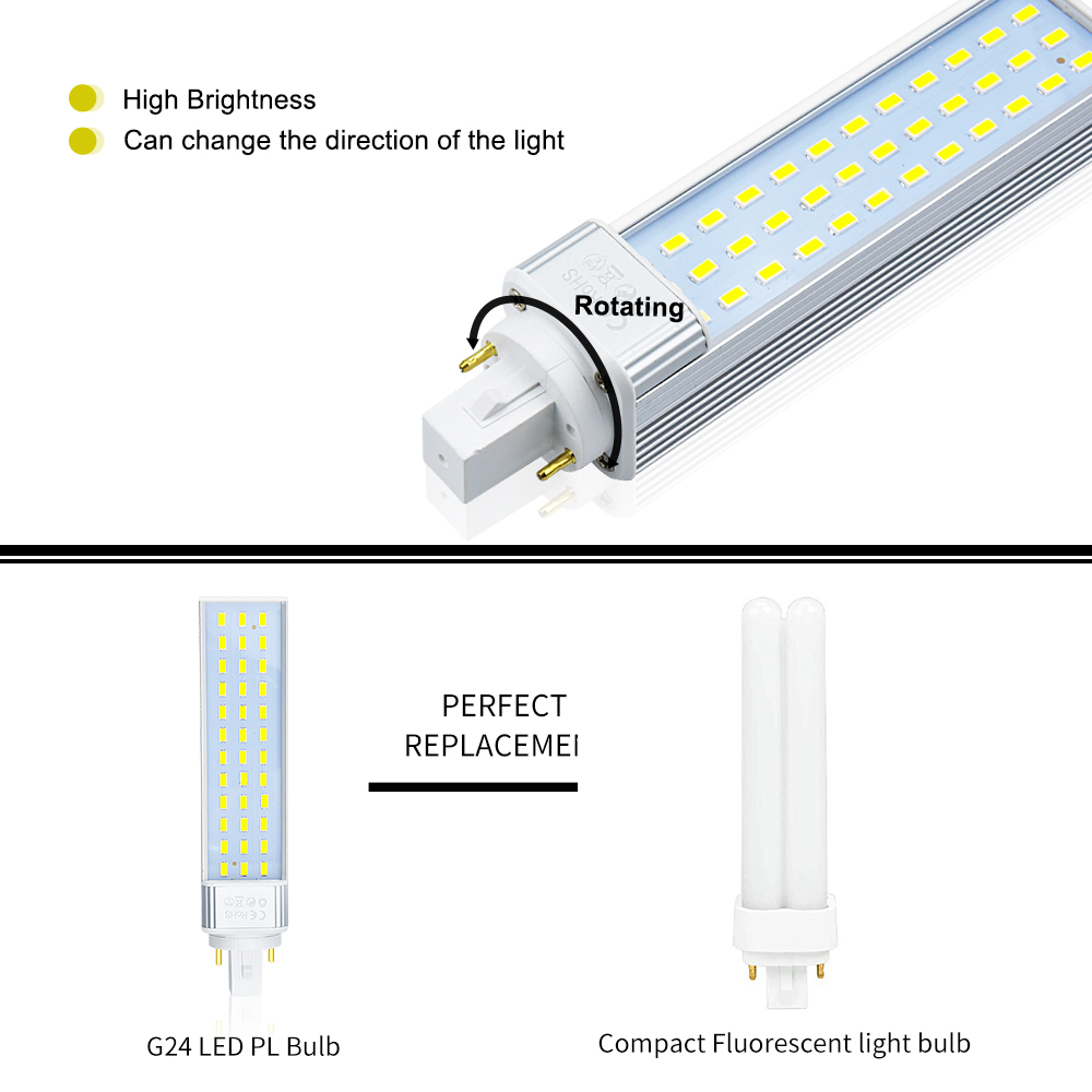 Bonlux 2 Pack 13W G24 2pin Rotatable LED PLC Lamp 26W CFL Compact Fluorescent Lamp Replacement Warm White 120° in LED Downlights from Lights Lighting